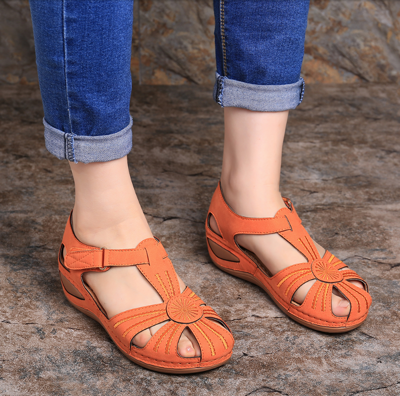 LOOZYKIT Women's Sandals Summer Handmade Ladies Shoe Leather Sandals For Women Flats Retro Style Soft Bottom Mother Shoes 2020