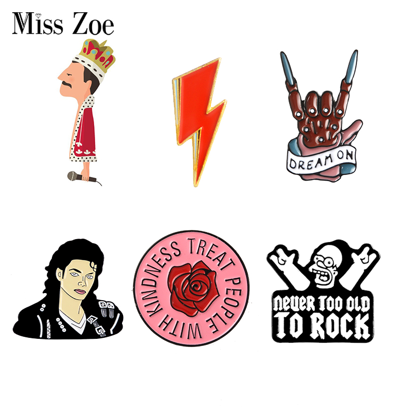 Rock You Enamel Pin OD HS Queen David Bowie MJ Brooches Bag Clothes Lapel Pin Badge Rock and Roll Band Jewelry Music Lovers 1