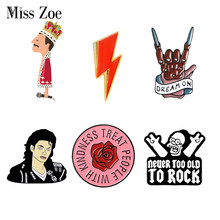 Rock U Enamel Pin Od Hs Koningin David Bowie Mj Broches Bag Kleding Revers Pin Badge Rock En Roll Band sieraden Muziek Liefhebbers