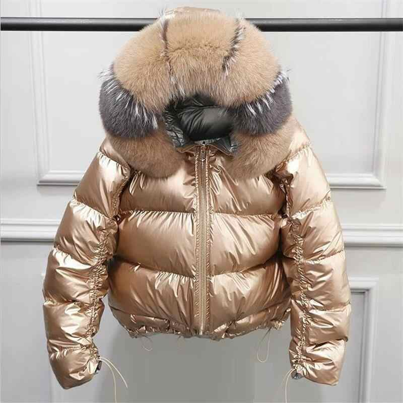 Natural Fox Fur Winter Jacket Women Gold Warm Parka Real Fur Down Coat Female White Duck Down Jacket Winter Waterproof Overcoat