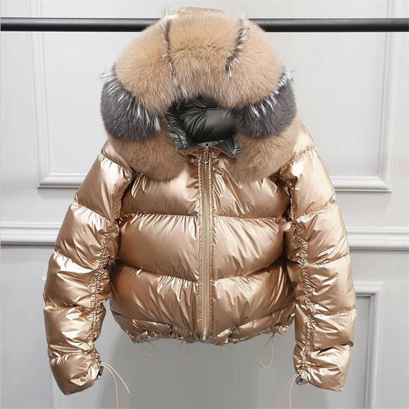 Natural Fox Fur Winter Jacket Women Gold Warm Parka Real Fur Down Coat Female White Duck Innrech Market.com