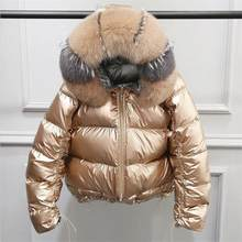 Natural Fox Fur Winter Jacket Women Gold Warm Parka Real Fur Down Coat Female White Duck Down Jacket Winter Waterproof Overcoat(China)