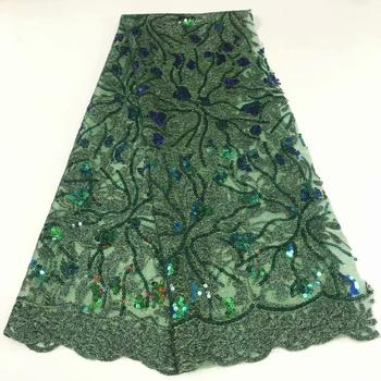 good looking green color glued glitter lace fabric and shinny lace fabric with beads for women party dress FFR913