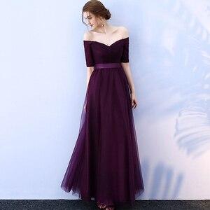 Image 3 - PLUSขนาดยาวผู้หญิงชุดราตรี 2020 A Lineไหล่ปาร์ตี้ชุดTulle ElegantชุดพิเศษRobe De soiree