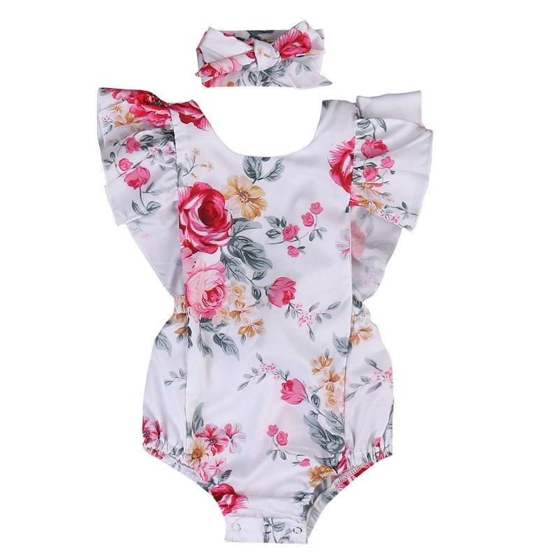 2020 Summer  Baby Girl Clothing Newborn Bodysuit Ruffle Floral Bodysuits+Headband One-Piece Outfits 0-18M
