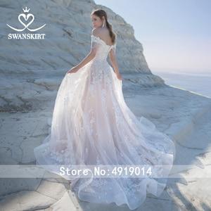 Image 4 - Sweetheart 3Dดอกไม้งานแต่งงานชุดSwanskirt Appliquesปิดไหล่A Lineลูกไม้เจ้าหญิงชุดเจ้าสาวVestido De Noiva LZ22