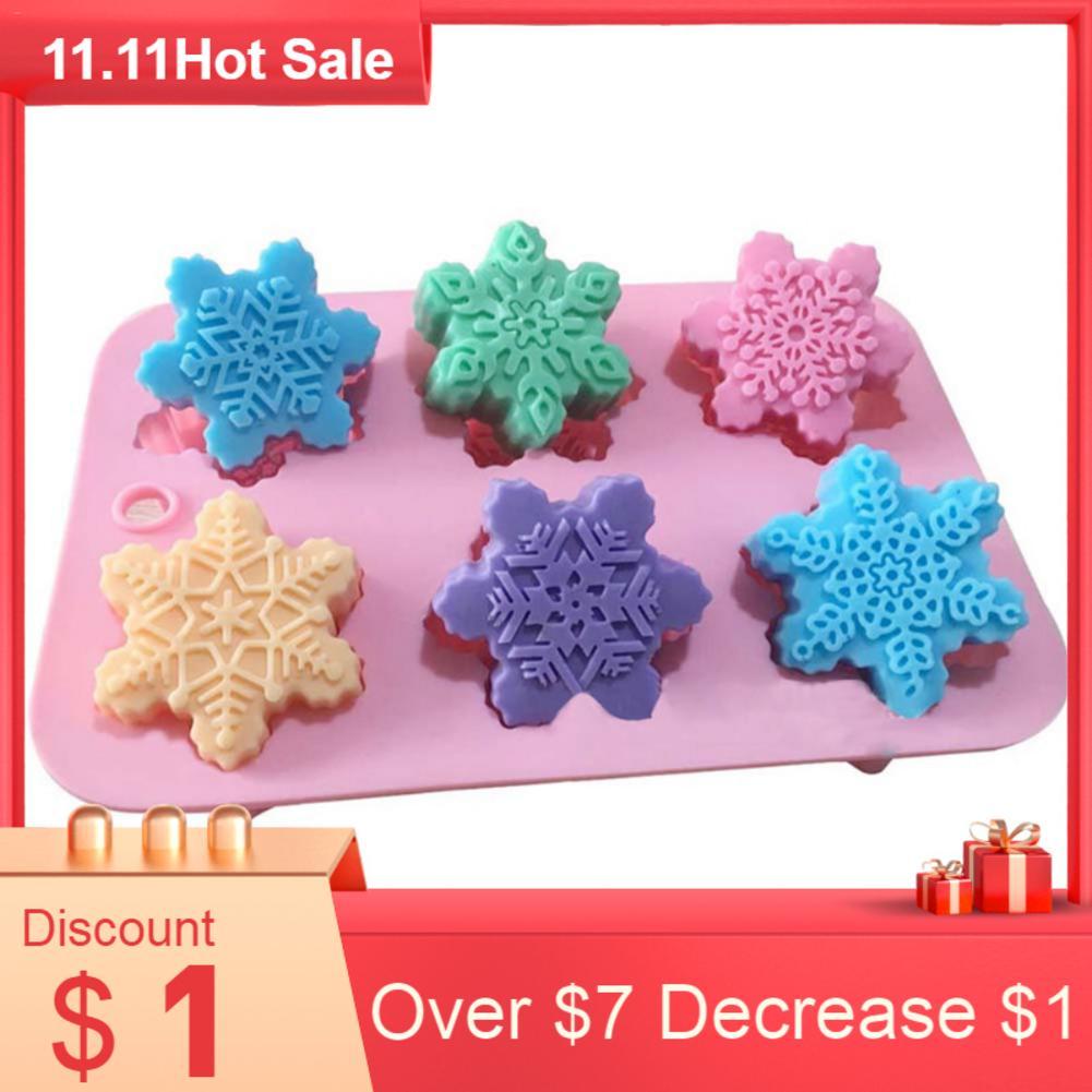 6 Shape Christmas Snowflake Silicone Cake Soap Mold DIY Handmade Pudding Chocolates Candle Jellies Aromatherapy Stone Mold