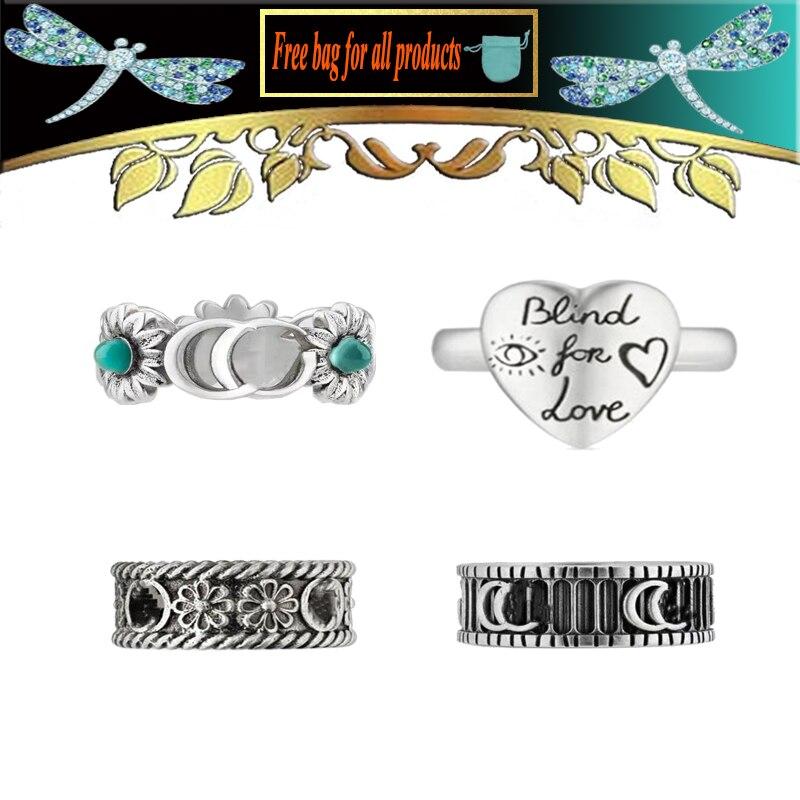 Amour sans peur double Couple Logo anneau série accessoires S925 bijoux pour hommes et femmes saint valentin cadeau