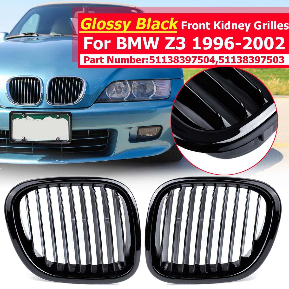 1 Pair Matte Black Left Right Car Front Kidney Grilles For Bmw Z3 1996 1997 1998 1999 2000 2001 2002 Replacement Racing Grilles Racing Grills Aliexpress