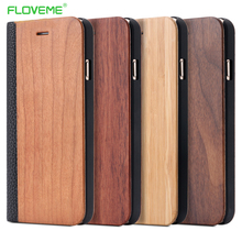 FLOVEME etui na iPhone 11 6 6 S 7 8 X XS XS Max XR drewno bambusowe etui na iPhone 6 s 7 8 Plus 11 12 Pro Max Mini etui z klapką skórzane