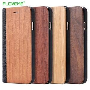 Image 1 - FLOVEME kılıf iPhone 11 6 6 S 7 8 X XS XS Max XR bambu ahşap durumda iPhone 6 s 7 8 artı 11 12 Pro Max Mini Flip Case deri
