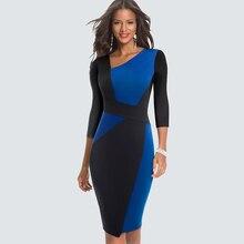 Новое модное лоскутное элегантное офисное Женское Платье облегающее Деловое платье карандаш HB517