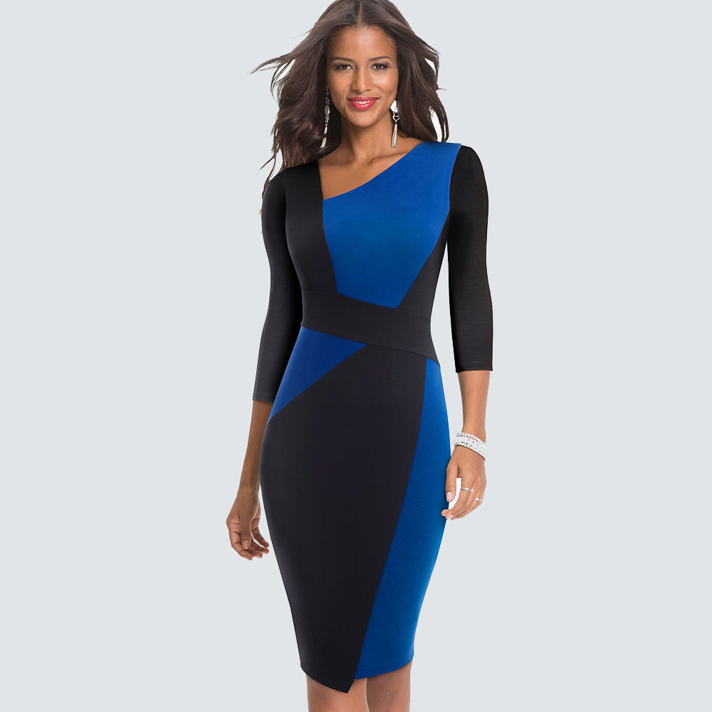 New Fashion Patchwork Elegant Office Lady Dress Sheath Fitted Bodycon Business Pencil Dress HB517