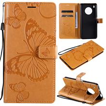 Skórzany futerał na telefon z wytłoczonym motylem do Huawei Y9A pokrowiec na portfel w stylu Vintage tanie tanio G J FACASE CN (pochodzenie) PU Leather Wallet Case