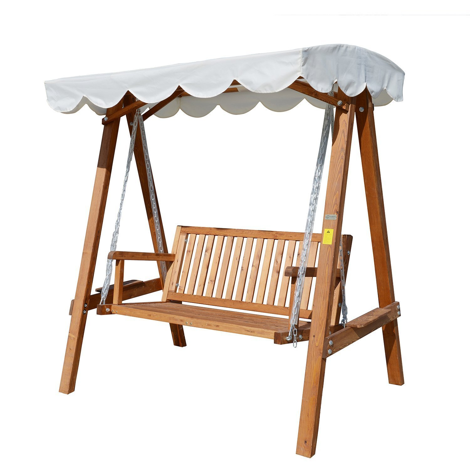 Outsunny Swing Pine Wood Frame With Sunshield Sun Shade Garden 162x125x185 Cm