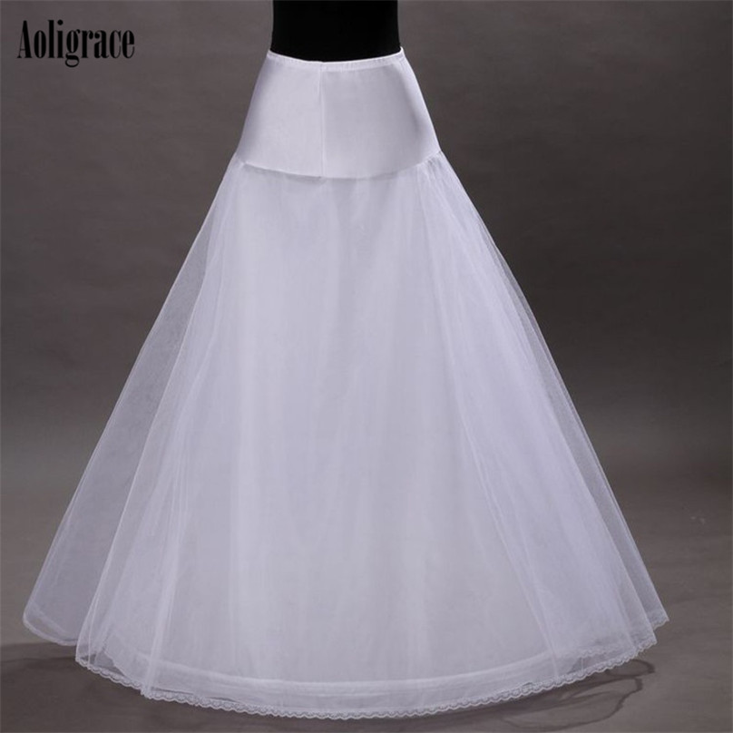 Aoligrace 2020 High Quality Adult White Petticoat No Hoop Floor Length Wedding Accessories Cheap A Line Petticoats For Wedding