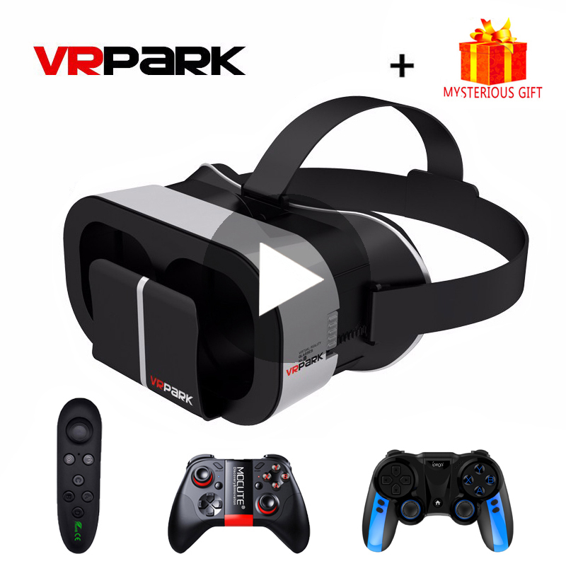 Vrpark v5 inteligente casque gerceklik óculos de realidade virtual 3d 3 d vr fone ouvido capacete para iphone android smartphone len ios