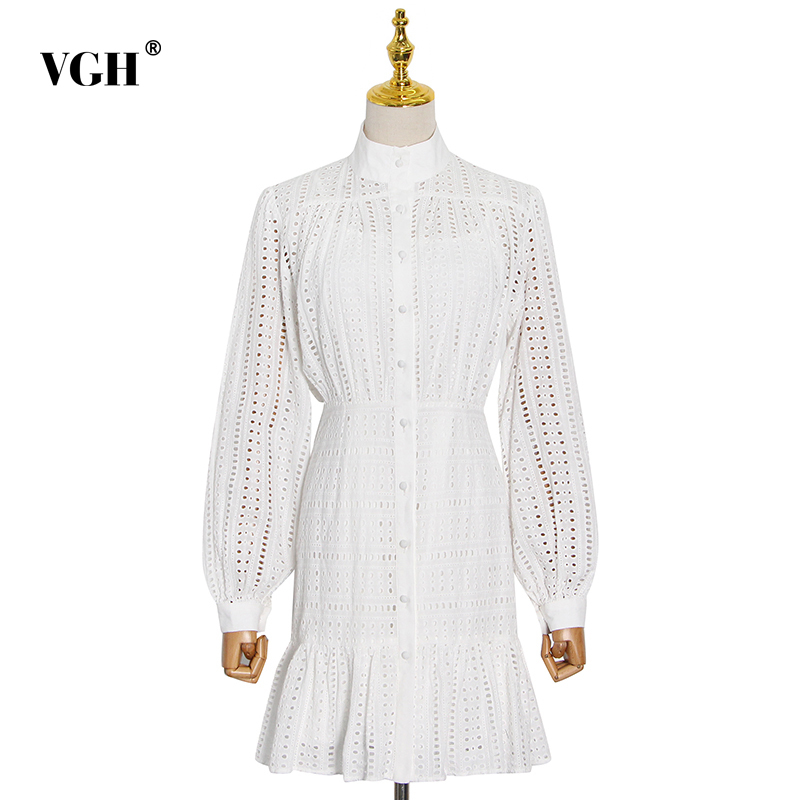 VGH Solid Dress For Women Stand Collar Lantern Long Sleeve High Waist Hollow Out A Line Mini Dresses Female 2021 Autumn Clothes