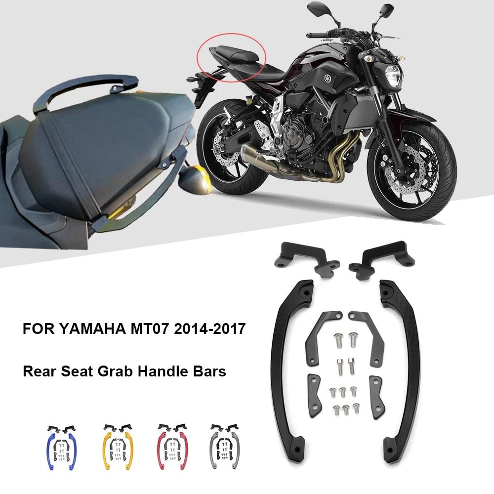 Black Motorcycle Rear Seat Passenger Grip Hand Rail Handle For Yamaha MT07 FZ-07