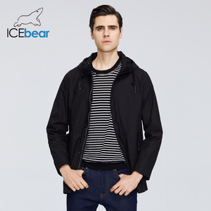 Image 3 - ICEbear 2020 גברים של קצר מעיל רוח אביב אופנתי תעלת מעיל עם ברדס גבוהה איכות גברים של מותג בגדים MWF20701D