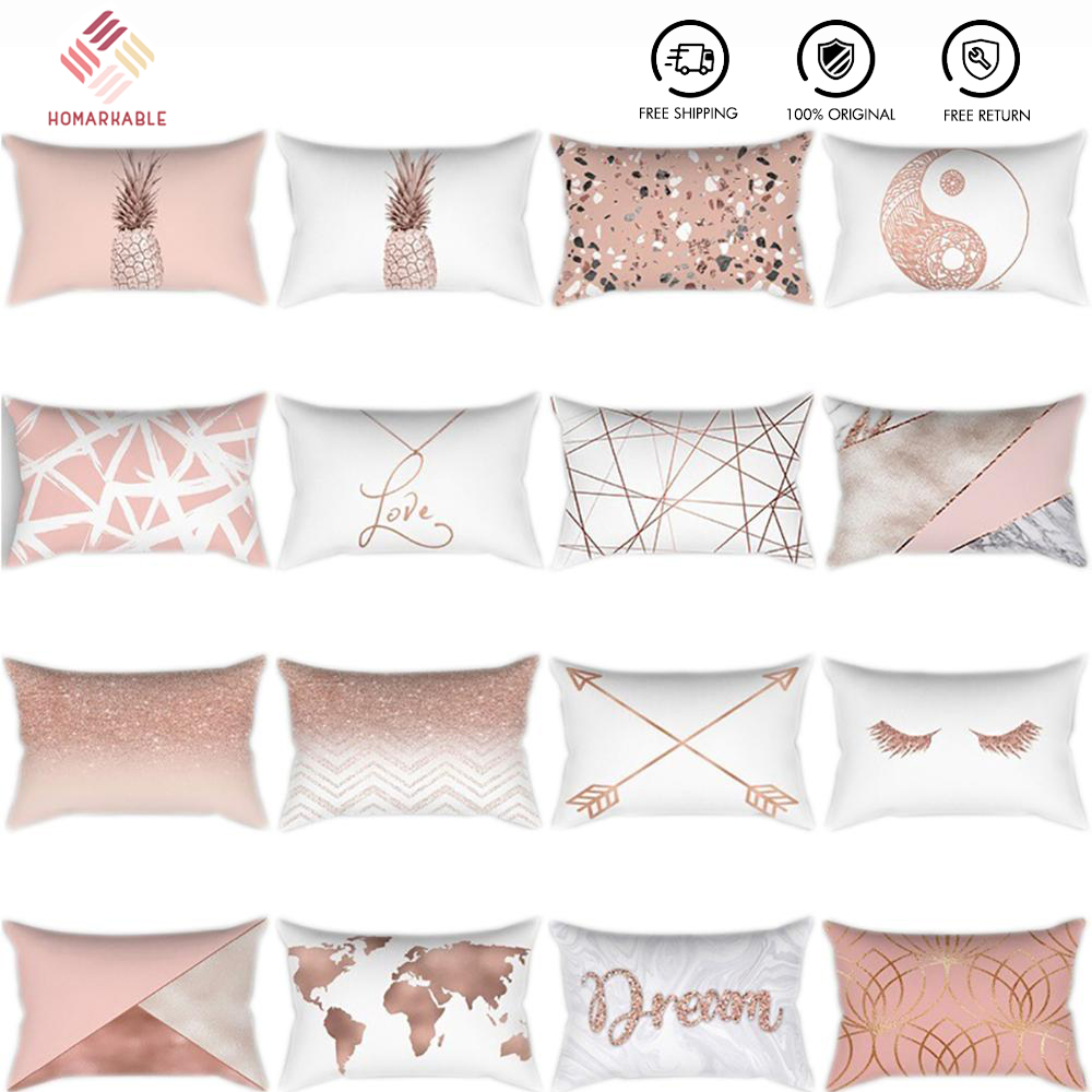 26sty Rectangular Cushion Cover Rose Gold Pillow Case Sofa Bed Decorative Cushions For Bed Lumbar Pillowcover Waist Pillow Case