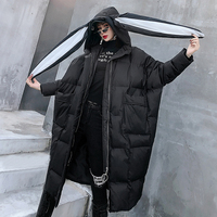 Women's Cotton Parkas 2019 New Long Rabbit Ears Winter Coat Thick Warm Plus Size Loose Jacket Black Hooded Collar Female Jacket