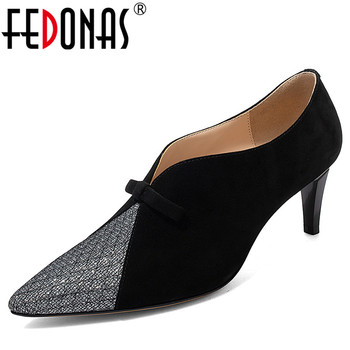 FEDONAS Bowtie Decoration Pumps Women Spring Autumn Office Basic Party Shoes Woman Shallow Pointed Toe Pumps Classic High Heels