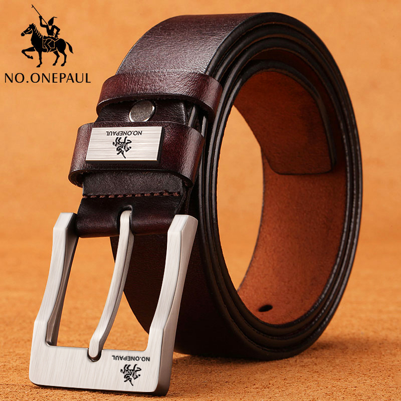 Nova moda clássico vintage pino fivela cinto masculino de alta qualidade não. onepaul vaca couro genuíno cinta de luxo cintos masculinos para homens