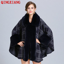 2019 Winter Warm Turn Down Faux Fur Neck Long Plaid Knitted Loose Poncho Cape Autumn Big Pendulum Sweater Women Cardigan Coat