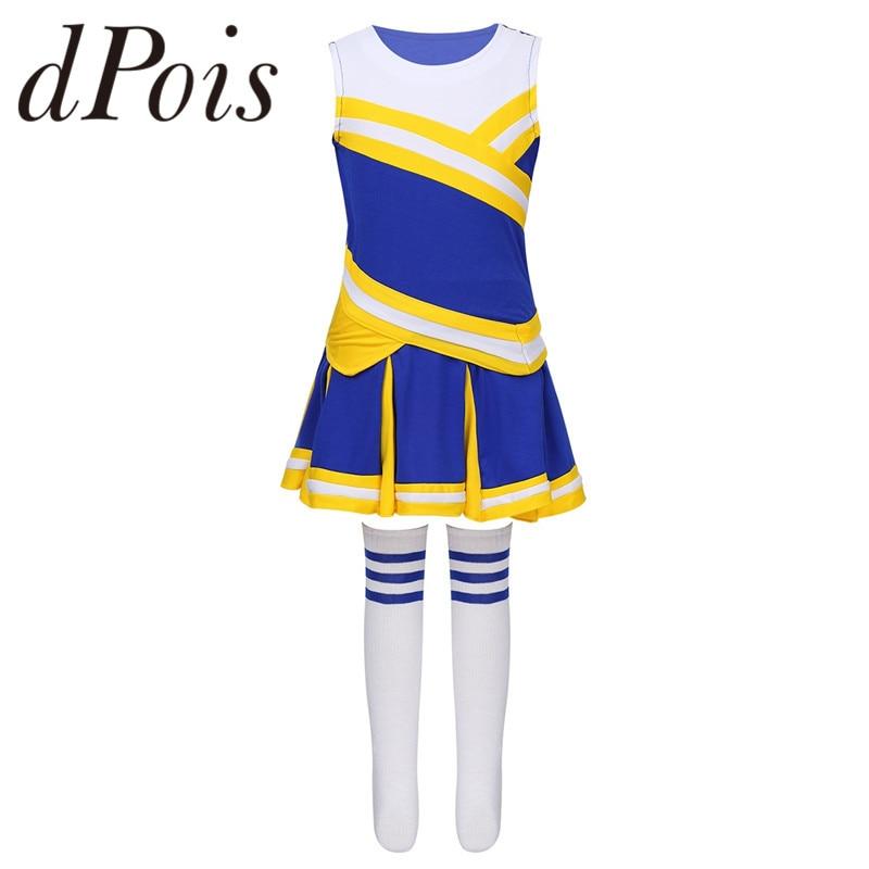 Kids Girls Cheerleading Uniforms Sleeveless Tops Pleated Skirt Socks Set Stage Performance Cheerleader Costume Dancewear Outfit