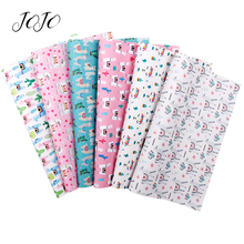 JOJO BOWS 22*30cm 1pc Faux Synthetic Leather Fabric For Needlework Alpaca Printed Sheets DIY Hair Bows Home Decor Apparel Sewing jojo bows 22 30cm 1pc synthetic leather fabric for crafts mermaid printed faux sheet for needlework bag apparel sewing materials