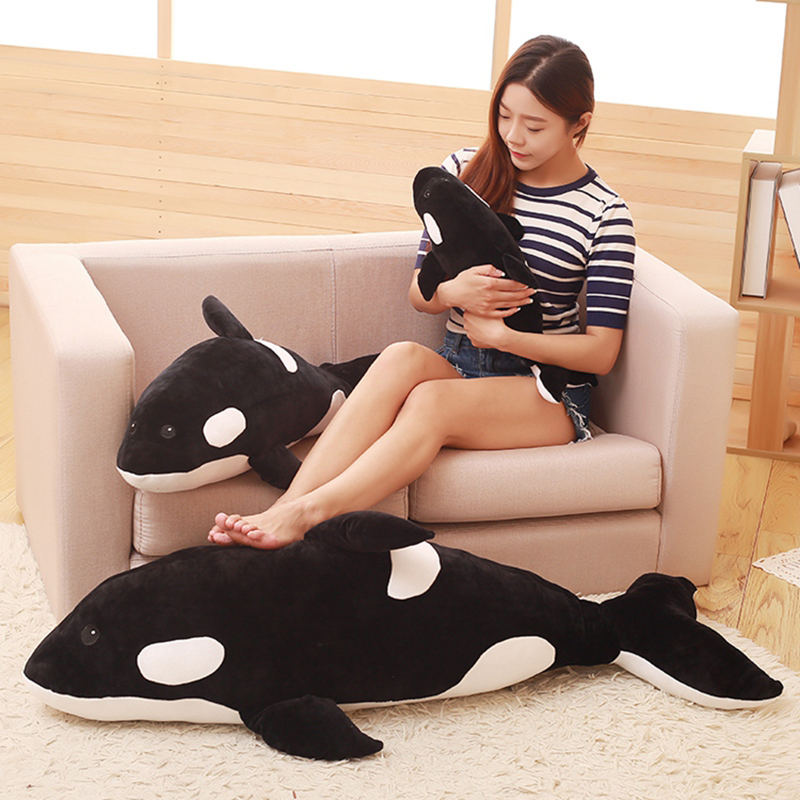 Simulation Killer <font><b>Whale</b></font> Doll Pillow <font><b>Whale</b></font> Orcinus <font><b>Orca</b></font> Black And White <font><b>Whale</b></font> <font><b>Plush</b></font> Toy Doll Shark Kids Boys Girls Soft Toys image