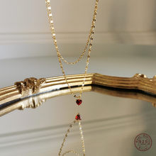 Collier pendentif en cristal coeur rouge Simple européen pour femmes, bijoux de luxe léger, tempérament, or 18k, Double chaîne à clavicule