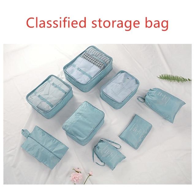 8pcs/set travel organizer bag high quality 8 pieces set luggage clothes underwear finish bag travel classification storage bag