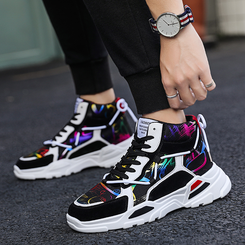 2019 Men Sports Sneakers Shoes Breathable High Top Men Running Shoes Comfortable Athletic Footwear Jogging Walking Sports Shoes