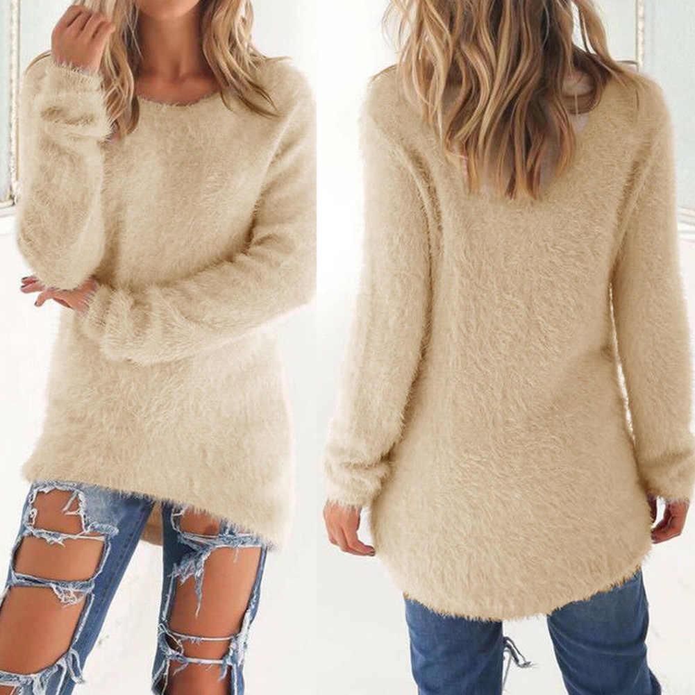セーター女性フリース冬暖かい長袖セーター無地大サイズカジュアルプルオーバー女性セータートップ
