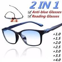 Ultra hafif okuma gözlüğü Anti mavi ışık lensi erkekler kadınlar için moda bacak çerçeve + 1.5 + 2.0 + 2.5 + 3.0 + 3.5 + 4.0