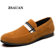 ZSAUAN Webbing Men Flats Oversize 38-48 Yellow Green Men's Faux Suede Loafers Casual Tiny British Style Man Dress Shoes Dropship