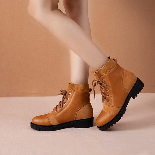 YMECHIC 2019 אופנה צלב עניבת שמנמן נמוך העקב אישה מגפיים שחור צהוב גבירותיי להחליק על נעלי פאנק גותיקה קרסול Combat מגפי חורף