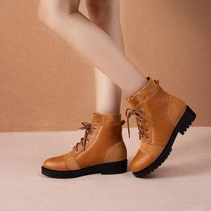 Image 1 - Ymechic 2019 moda cruz gravata chunky salto baixo mulher botas preto amarelo senhoras deslizamento em sapatos punk gótico tornozelo botas de combate inverno