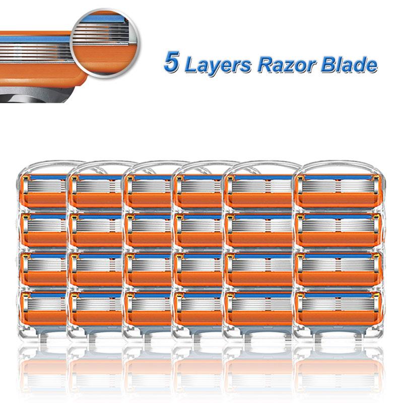 Бритвенные Лезвия для мужчин Gillette Fusion, сменные t-образные головки из нержавеющей стали, 5 слоев