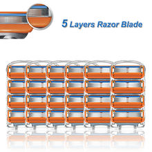 Ręczna maszynka do golenia ostrza 5 warstw końcówki zamienne ze stali nierdzewnej Fit Gillette Fusion 5 proste kasety do golenia dla mężczyzn