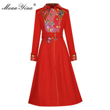 Long-Sleeve Overcoat Women Cloth Embroidery Woolen Autumn Fashion-Designer Single-Breasted