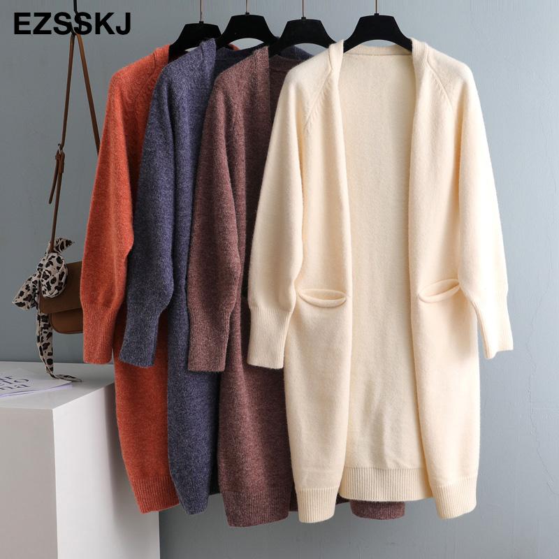 2020 Lazy v neck oversize long Sweater cardigans jacket coat new women thick sweater Korea cardigan jacket coat outwear TOP