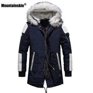 Image 4 - Зимнее Мужское пальто с меховым капюшоном, длинная хлопковая куртка, мужские повседневные парки, модные толстые теплые пальто, Мужская брендовая одежда SA611