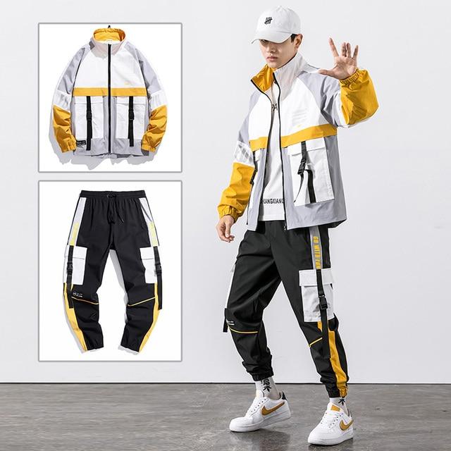 2021 Hip Hop Workwear jacket Mens Tracksuit Jacket+Pants 2PC Sets baseball loose Zipper Ribbons Coat & Long Pants Mens Clothes 4