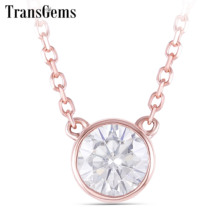 TransGems 14k Rose Gold Center 0.4ct 4.5MM F Color Moissanite Pendant Necklace for Women Chain Length 45CM Engagement Gifts