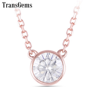 Image 1 - TransGems 14k Rose Gold Center 0.4ct 4.5MM F Color Moissanite Pendant Necklace for Women Chain Length 45CM Engagement Gifts