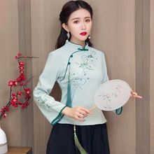 Cheongsam Women Plus Size Tops 2021 Autumn Cotton Embroidery Splicing Stand Collar Long Sleeves Chinese Style Qipao Shirts Woman