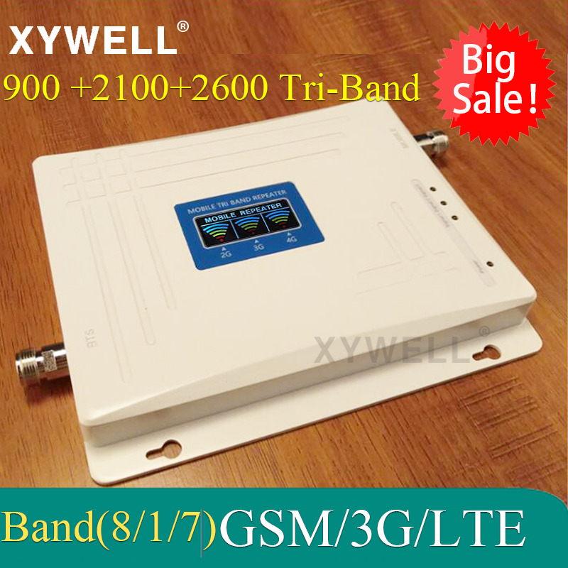 Big Sale!! 900/2100/2600 Mhz Tri-band Mobile Signal Booster 4G Cellular Amplifier 900 2100 2600 UMTS LTE GSM Repeater2g 3g 4g